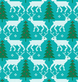embroidered reindeer and trees pattern vector image
