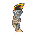 fire torch in hand sketch engraving vector image