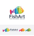 fish art logo design vector image vector image