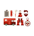 flat set of icons related to camping and vector image vector image