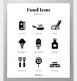 food icons solid pack vector image