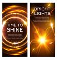 glowing golden lights banner set design vector image vector image