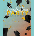 graduate caps and confetti on a bright background vector image vector image