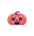 halloween carved pumpkin with frightened face vector image vector image