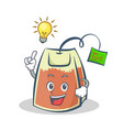have an idea tea bag character cartoon art vector image