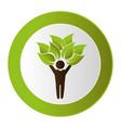 human figure with leafs plant ecology symbol vector image vector image