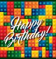 Lego pieces icon Happy Birthday design vector image