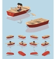 Low poly red punt boat vector image vector image