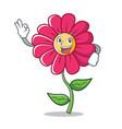 okay pink flower character cartoon vector image vector image