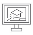 online training thin line icon education and vector image vector image