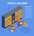 parcel delivery pastomat concept background vector image