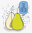 pears in half cut fruit cartoon vector image