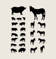pig and zebra silhouettes vector image vector image