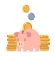 piggy bank and coins flat saving money vector image vector image