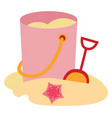 pink bucket in sand on white background vector image vector image