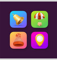 realistic detailed 3d mobile application icons set vector image vector image