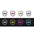 set shield and eye icon isolated on black and vector image vector image