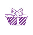 silhouette present gift with ribbon bow decoration vector image vector image