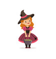 small witch girl holding bowler full of candies vector image vector image