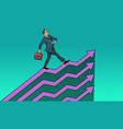 successful businessman going up growth charts vector image