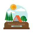 Summer camping adventure landscape vector image