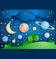 surreal landscape with hanging moon and planets vector image vector image