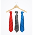 Tie Set on Wooden Hanger vector image