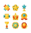 Trophy and awards icons set in flat design style vector image vector image