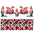 Ukrainian embroidery swans and nightingales vector image