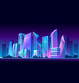 urban building skyline panoramic night banner vector image vector image