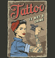vintage tattoo studio colorful poster vector image vector image