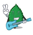 with guitar mint leaves mascot cartoon vector image vector image