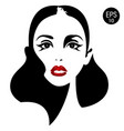 woman face with red lips eyes vector image vector image