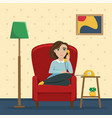 woman sitting in a chair talking on phone vector image