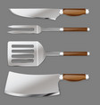set of kitchen tools for cutting foods and cooking vector image