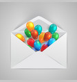 an envelope with colorful ballons vector image vector image