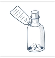 Bottle with pills isolated on white vector image vector image