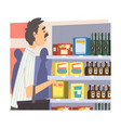 businessman doing grocery shopping with basket at vector image