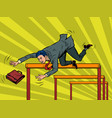 businessman falling from a barrier vector image vector image