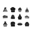 cake icon set simple style vector image vector image