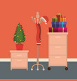 christmas office workplace scene with file vector image