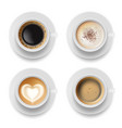 coffee cup top hot milk espresso latte breakfast vector image