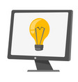 computer monitor with a light bulb cartoon vector image vector image