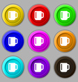 cup coffee or tea icon sign symbol on nine round vector image