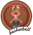 cute squirrel animal playing basketball vector image vector image
