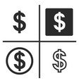 dollar currency symbol set vector image vector image