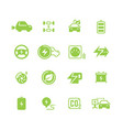 electrical charge symbols and electric car eco vector image