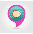 Fish pin map icon Summer Vacation vector image
