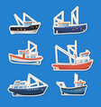fishing boats side view isolated labels set vector image