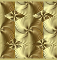 gold 3d line art geometric seamless pattern vector image vector image